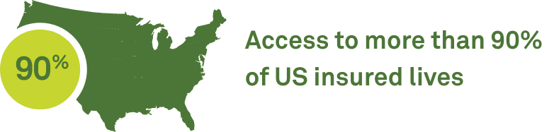 Access to more than 90% of US insured lives
